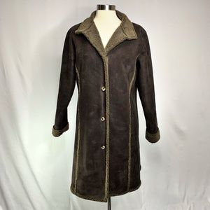 L.L. Bean Womens Brown Faux Suede Car Coat MED